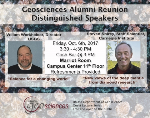 Flyer for Distinguished Speaker event showing event information and headshots of two speakers