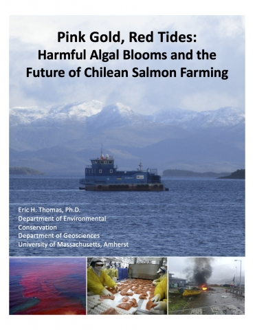 Flyer for event with talk title and author information superimposed over image of blue, boxy commercial salmon vessel on water in front of snow-capped mountains in Patagonia Chile