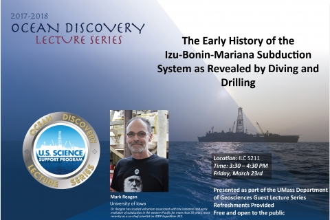 Poster for event with drilling ship on calm, open ocean behind text and photo of speaker.