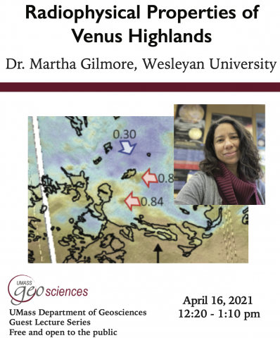 Flyer for event with talk title and author information in addition to a photo of author superimposed over geophysical map of Venus highlands