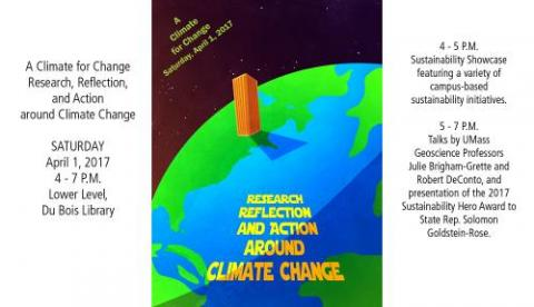 Flier for Climate for Change Event- An image of the the Earth's globe with U-Mass Dubois Library looming over the Atlantic ocean