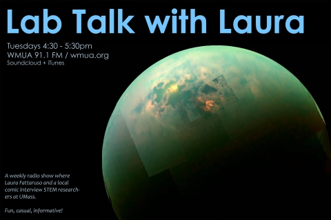 Advertisement for Lab Talk with Laura, showing 3/4 view of the moon Titan's polar region in resplendent green
