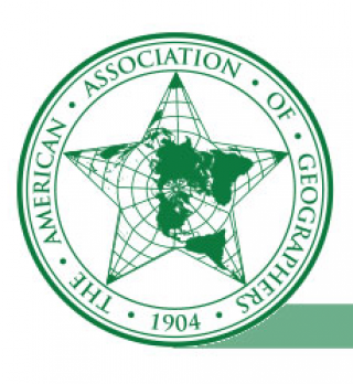 Logo of the American Association of Geographers, resembling a green linework sherrif's badge with 5 point star.  Within the star is a north-poleward projection of the globe with lat-long meridians.
