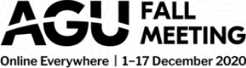 """AGU Fall meeting logo with slogan """"Online Everywhere"""" and dates of meeting: December 1-17 2020"""