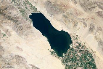 The Salton Sea, CA, from space.  Credit: NASA