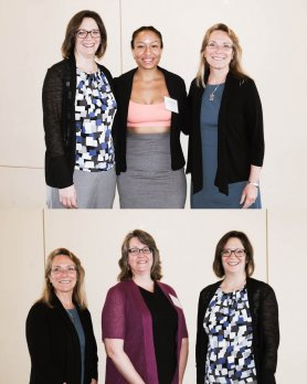 Portraits of Raquel Bryant and Dr. Michele Cooke, posing with Dean Dr. Tricia Serio and Department Head Dr. Julie Brigham-Grette