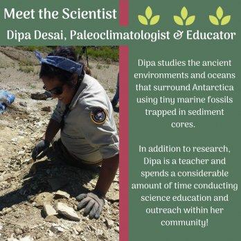 Photo of Dipa Desai in park service uniform sitting on rock slope, examining rock.  Text surrounding photo.