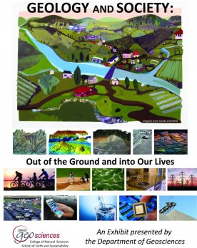 Poster of ISB exhibit featuring painting of a river valley bordered by agricultural land. Painting by Sandy Litchfield