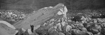 Historic etching of white European explorers navigating arctic ice field.